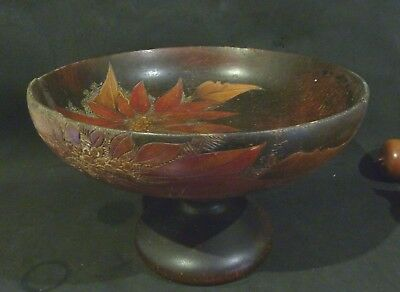 Pokerwork ,Pyrography WOODEN footed  BOWL, POINSETTIA
