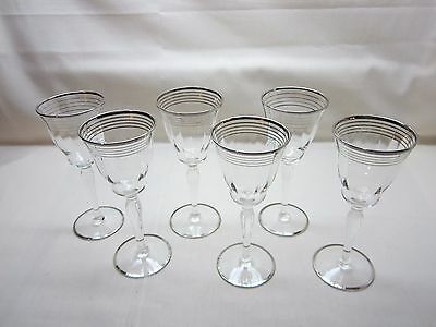 Antique Sherry/Apertif Glasses - Silver Bands and Edging - Set Of 6 - Excellent