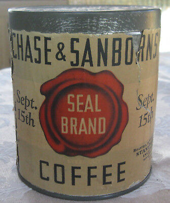 vintage 1902 Chase & Sanborn (s) Seal Brand Coffee tin can with paper label