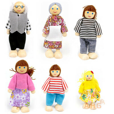 6X Cute Wooden House Family People Dolls Set Kids Children Pretend Xmas Toy Gift