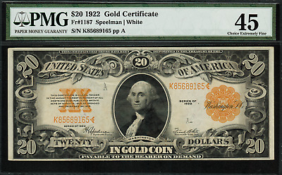 1922 $20 Gold Certificate FR-1187 - Graded PMG 45 - Choice Extremely Fine