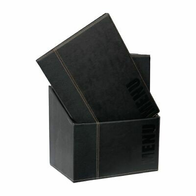 Securit Menu Holder in Black Set - A4 - Leather Style Pack of 20 with Stand Box