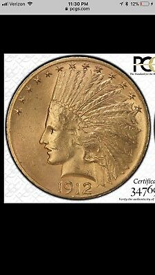 1912 $10 US Gold Eagle Indian PCGS MS61 Beautiful Coin!
