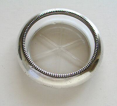 Vintage Frank M. Whiting Sterling Silver Beaded Edge Coaster with Glass Bottom