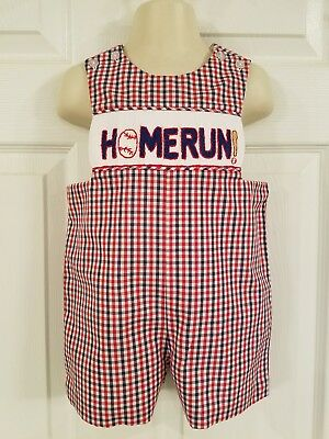 "Three Sisters Red White Blue Plaid Smocked ""HOMERUN"" Smocked Shortall sz 6M"