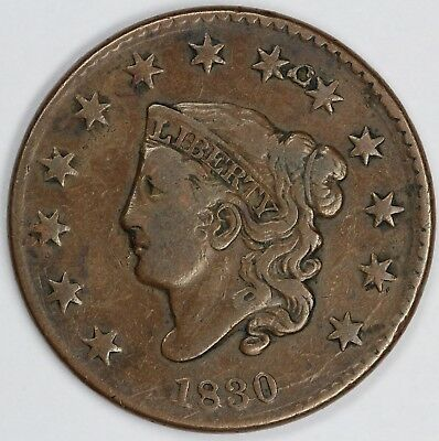 1830 1c Coronet or Matron Head Large Cent UNSLABBED