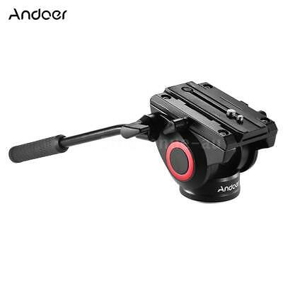 Andoer Lightweight Fluid Head Hydraulic Drag Head Three-dimensional Tripod E3E1