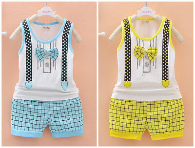 2pcs baby toddler Kids boys summer outfits top tank + short pants gentleman