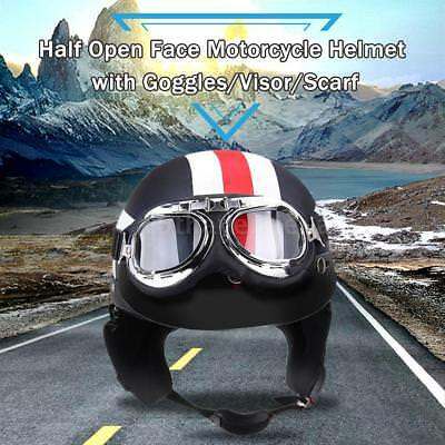 Half Open Face Motorcycle Helmet with Goggles Visor Scarf Biker Scooter G2A0