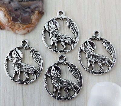 Howling Wolf Full Moon Charms 5/10/20pc - Bohemian Wicca Pendant   CH178