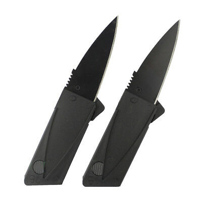 2x Steel Outdoor Credit Card Thin Strong Cardsharp Folding Pocket Knife Camping