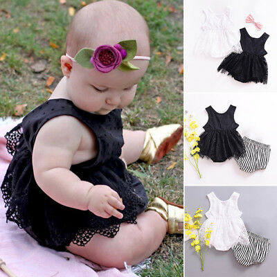 2018 Newborn Toddler Baby Girl Clothes Romper Lace Bodysuit Kids Dress Outfit