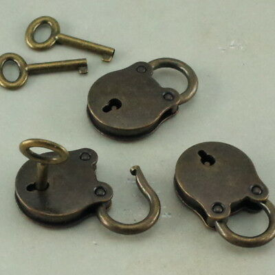 Old Vintage Antique Style Small  Padlock With Keys--Antique Brass Color-Lot of 3
