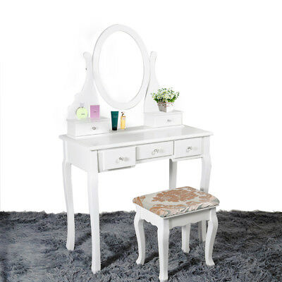 White Dressing Table Stool Set With 5 Drawers Mirror Bedroom