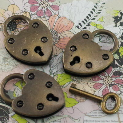 Old Vintage Antique Style Mini Padlock With Key- Antique Brass Color (Lot of 3)