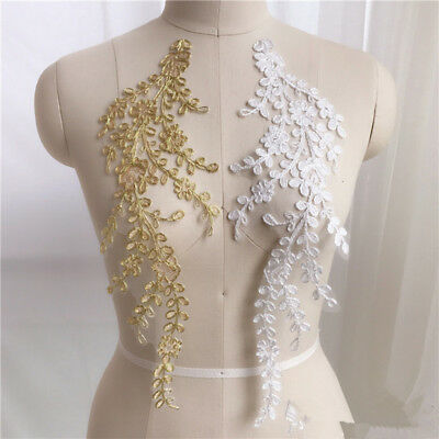 1 Pair Bridal Lace Applique Embroidery Wedding Motif Sewing Trim Craft DIY Dress