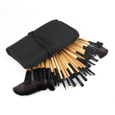 UK 32pcs Professional Soft Cosmetic Eyebrow Shadow Makeup Brush Tool Set Kit Bag