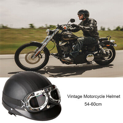 Motorcycle Rider Open Face Leather Helmet Visor Goggles Scarf Retro Vintage DR