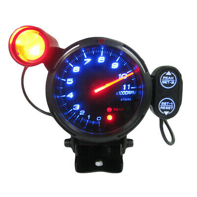 "3.5"" Tachometer Gauge Kit Blue LED 11000 RPM Meter with Adjustable Shift Z4P8"