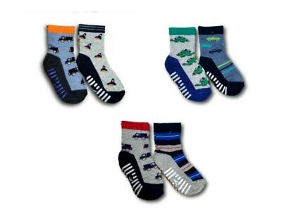 Baby Boys Toddler ABS Anti Non Slip Half Terry Cotton Socks 2 Pairs 9m-3 Years
