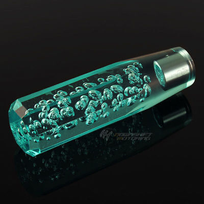 JDM VIP 150mm Acrylic Teal Octagon Crystal Bubble Manual Shift Knob Universal 2