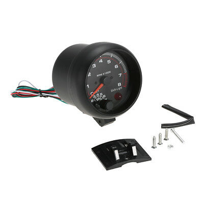 12v Universal 3.75'' Car Tachometer Gauge Meter 0-8000 RPM W/ Shift Light H1L2