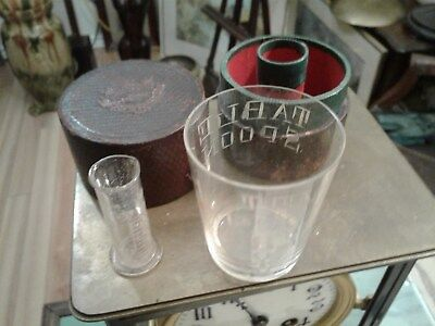 "c1900 Black Leather "" Medicine Glass "" & "" Minim Measure "" Glasses in Case Box"