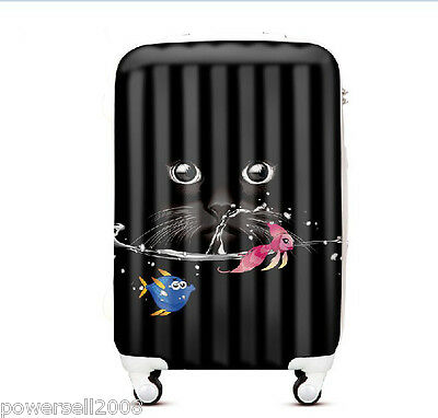 "28"" New Fashion Black Cat Universal Wheel ABS+PC Travel Suitcase Boarding LLX"