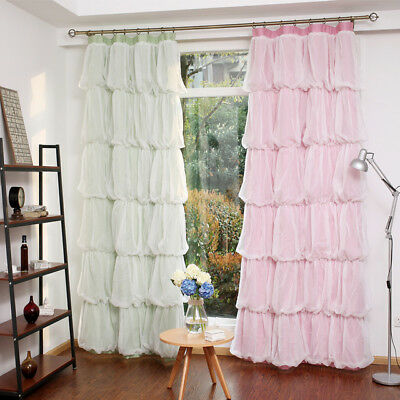 "59x86""  2pc. Princess Multilayer Pink White Bedroom Curtains Drapes"
