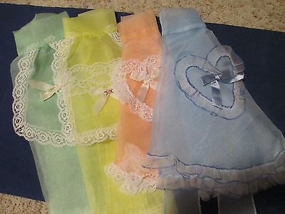 Vintage Half Aprons Wedding Server Nylon w/ Lace BLUE YELLOW