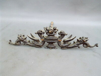 Antique ornate decorative brass black clock or furniture mount - spares or parts