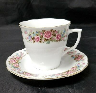 Remington Fine China: Red Sea, Tea Cup & Saucer, Coffee, Gold Trim, Rose Floral