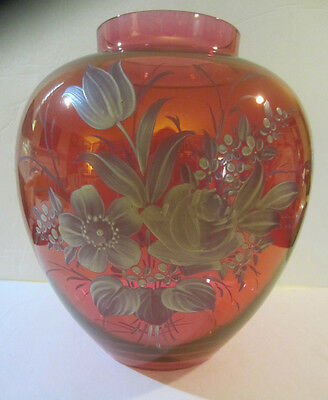 "Large Vintage Mary Gregory Type Cranberry Art Glass Vase Gorgeous! Unsigned. 9""H"