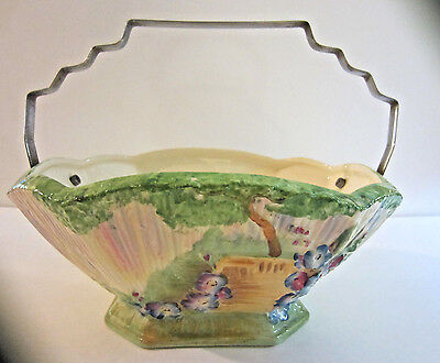 Vintage Porcelain Hand Painted Rainbow Multi Colored Flower Basket By Terrace.