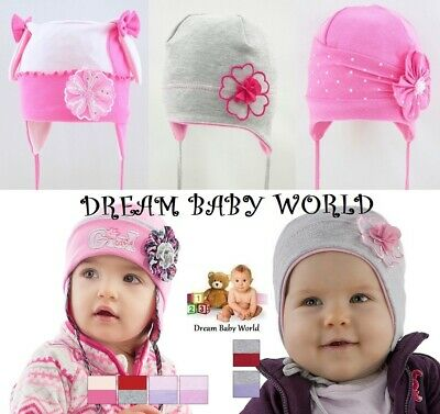 Cotton baby girls TIE UP hat SPRING size 9-24 months 2-3 Year KIDS toddler CAP