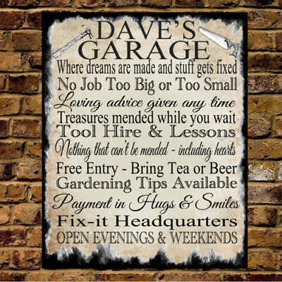 Personalised Metal Sign Dad Grandad SHED WORKSHOP GARAGE Man Cave Rules Gift