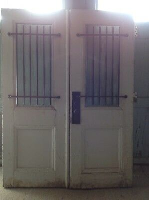 Antique Heavy Grated Post Office Bank Entrance Doors With All Hardware