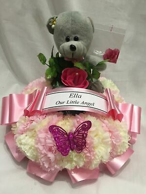 Artificial Silk Funeral Flower Wreath Ring Teddy Bear Memorial Tribute 2 Tone