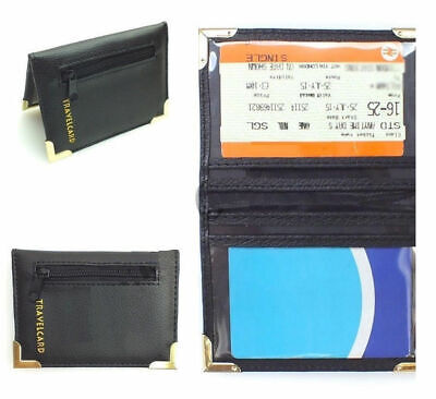 Black Pure Leather Travel Oyster Card Bus Pass Rail Card Holder Wallet CoverCase