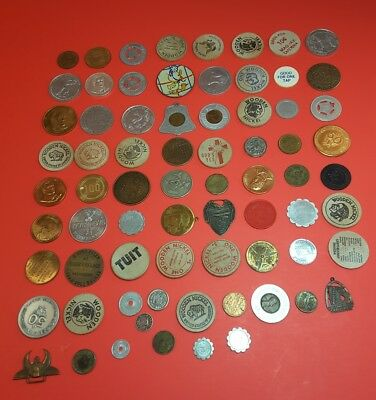 Lot of 72 Vintage Wooden Nickels Advertising Coins Tokens Exonumia Medals