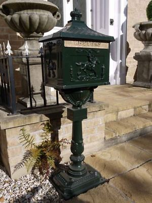 Post Box - Victorian Style Freestanding Aluminium Letter Box In Green
