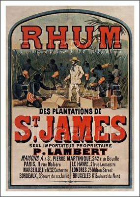 REPRODUCTION  40x60cm d'1 AFFICHE ANCIENNE RHUM ST JAMES n2