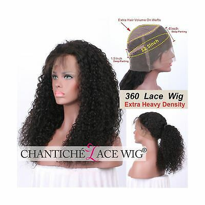 Chantiche Soft Curly 360 Lace Frontal Wig with Baby Hair and High Ponytail Br...