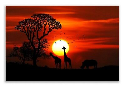 Giraffe Canvas African Sunset Orange Landscape Canvas Wall Art Picture Decor