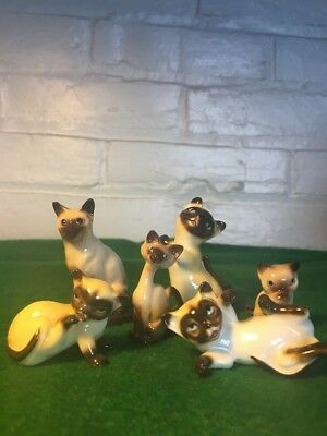 Vintage Lot Of Six Siamese Cats Bone China Hand Painted From The Fifties Nice!!