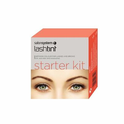 Salon System Eyelash Eyebrow Dye Starter Kit Tint Black Blue Brown Brush Tinting