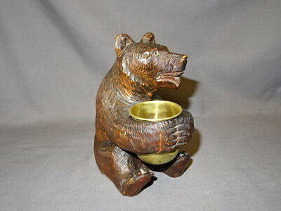 """Antique 19th Century Large 6"""" Carved Wooden Black Forest Sitting Bear"""
