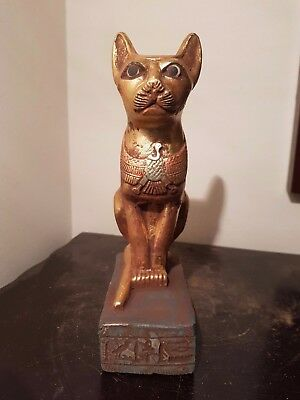 Rare Antique Ancient Egyptian Statue God Bastet with God Horus