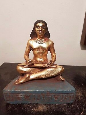 Rare Antique Ancient Egyptian Scribe writting on papyrus water Gold 1850-1760BC