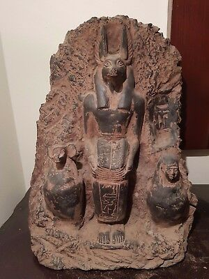 Rare Antique Ancient Egyptian Statue God Anubis Book Dead+Canopic jar1386–1349BC